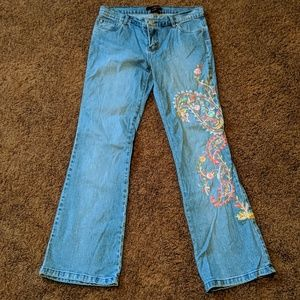 SUPER FUN paisley embroidered jeans by Willi Smith